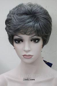 Black with Gray-white middle aged women elderly Ladies wig for women wig Free deliver