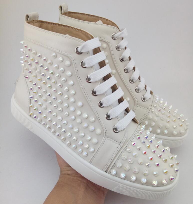 2019 novo frete grátis França Luxo Sneaker aniversário do partido sapatos vermelhos de alta top bottom louflat Plano Cintilantes Cristais Femininos Strass 3 D09