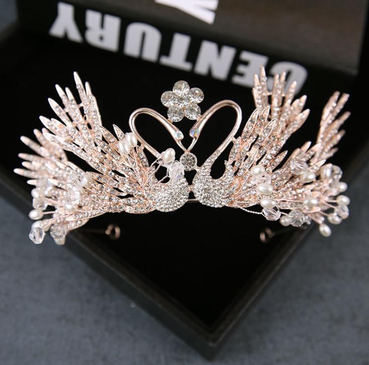 Coroa de noiva Moda brilhando meninas pérolas strass flor cisne princesa Do Cabelo Do Casamento acessórios boutique crianças festa de Cabelo Varas Y2224