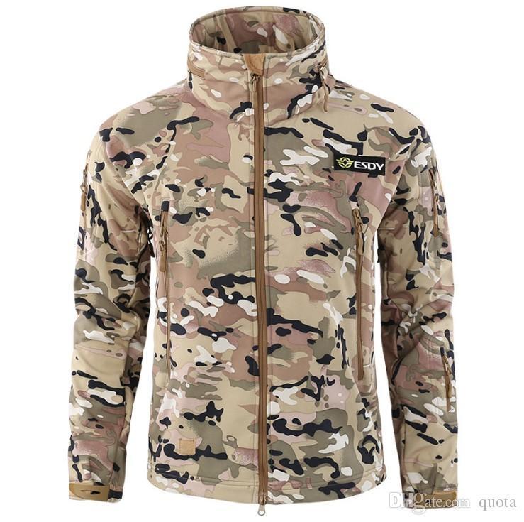 Erkekler Askeri Taktik Ceket Açık Yumuşak Kabuk Polar Ceket Ordu Polartec Spor Termal Avı Yürüyüş Spor Hoodie Ceket