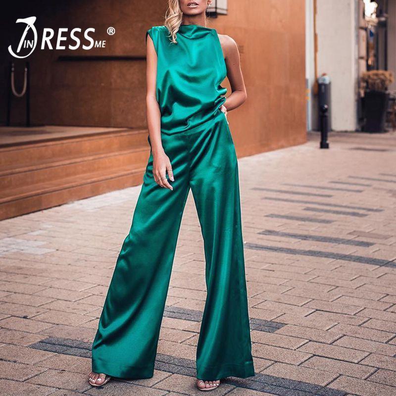 INDRESSME 2019 neue stilvoller zweiteiliger Set Ärmel Crop Top mit weiten Beinen Hosen lose Qualität Mode-Partei-Frauen Kleidung