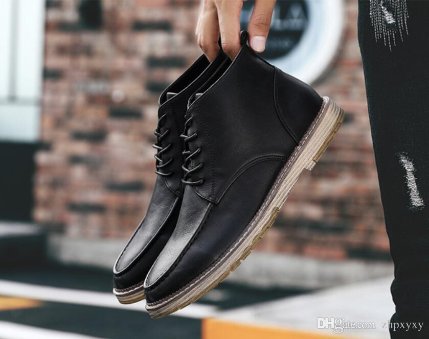 Schuhe Herren Boots Martens Lederschuhe kühlen Motorrad Männer Ankle Boots Herbst Männer Oxfords Schuhe Herren Arbeitsstiefel
