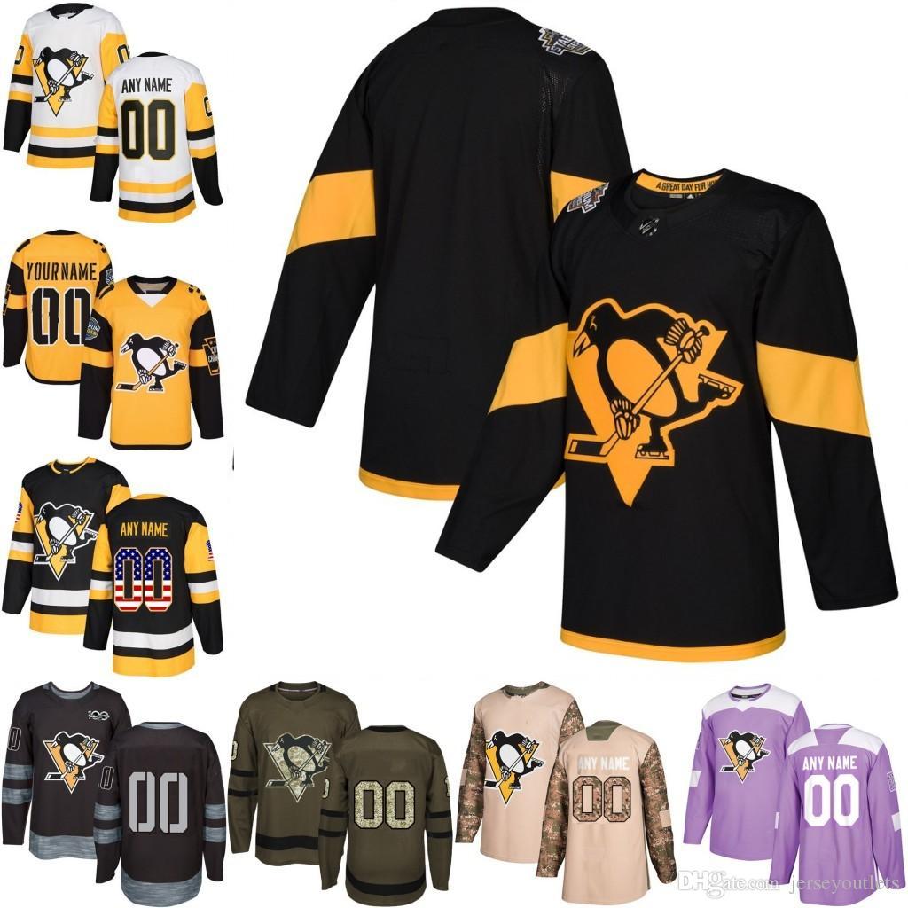 2018 Custom Hombres Mujeres Juventud Pittsburgh Penguins Crosby Cualquier nombre Cualquier número Jersey de hockey sobre hielo, Auténtico Jersey Bordado Logotipos tamaño S-3XL