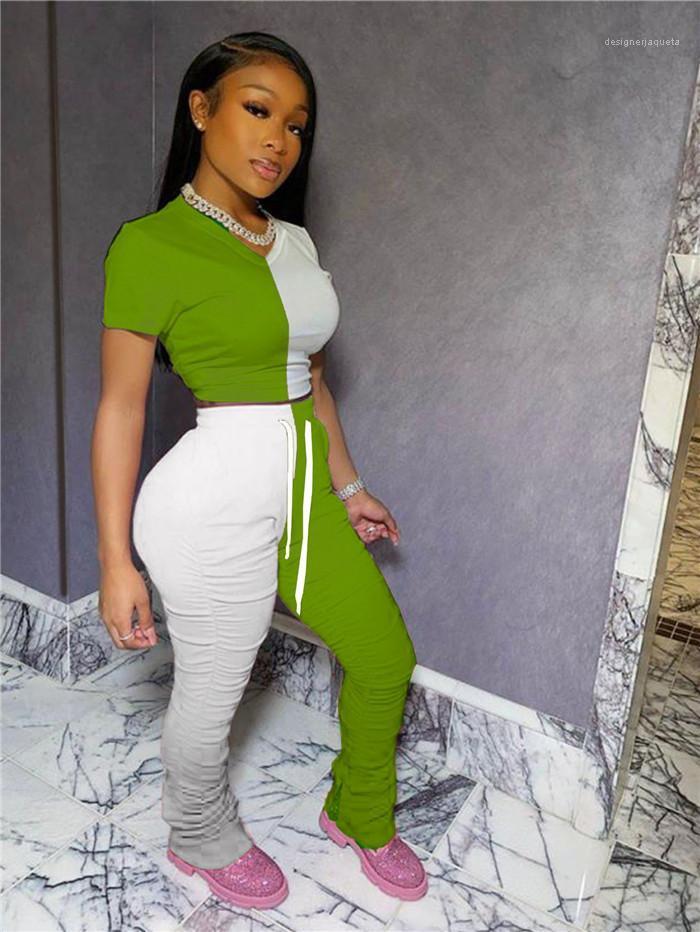 Diseñador de color chándales de Verano de Split llamarada plisada Pantalones Conjuntos ocasional de las hembras Trajes nuevas mujeres del estilo con paneles de contraste