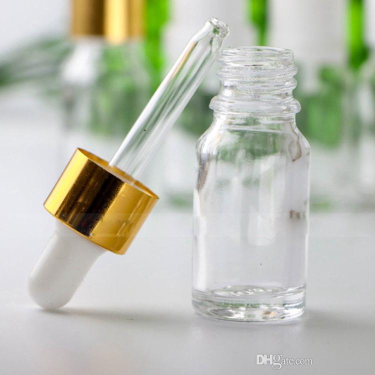 Altın Kapaklar Cam Damlalık Numune Tüp Via Ücretsiz DHL ile Mini uçucu yağ şişeleri 10ml Kalın Şeffaf Cam Damlalık Kapsayıcı boşaltın