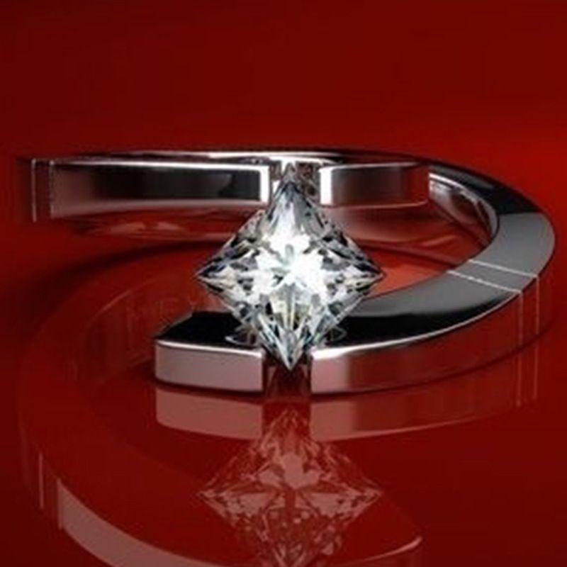 Principe Anelli di nozze per le donne in oro rosa amore Ring Size 5 6 7 8 9 Gioielli Anello di fidanzamento in acciaio Steel Promise Wedding Band