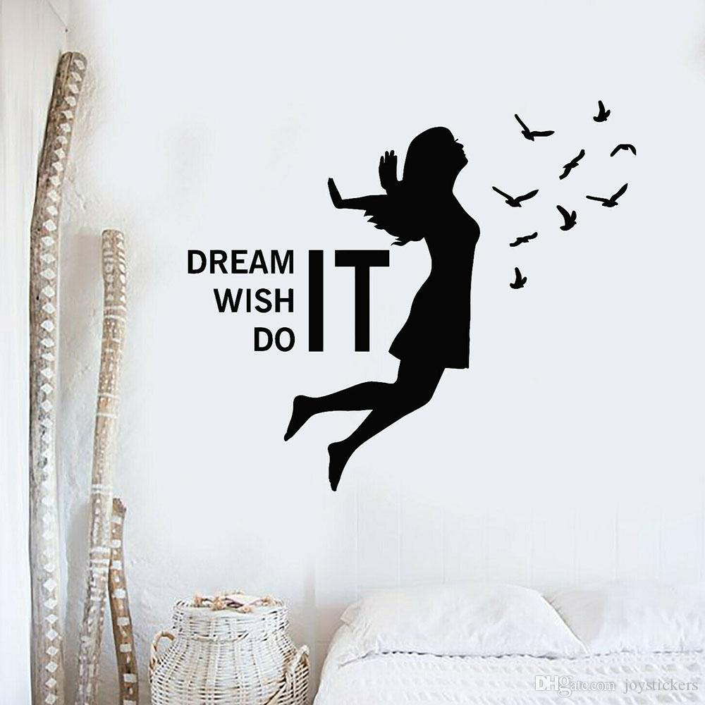 MOTIVATIONAL WALL QUOTE LIVING BEDROOM VINYL DECOR STICKER DECAL STENCIL MURAL