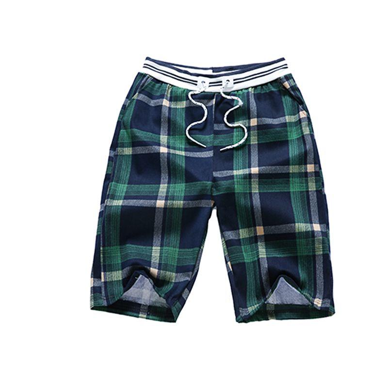MOGU 2019 Nueva Llegada Verano A Cuadros Para Hombre Pantalones Cortos Moda Suelta Tamaño Asiático M-3XL Hawaiian Beach Shorts 6 colores para la ropa de los hombres