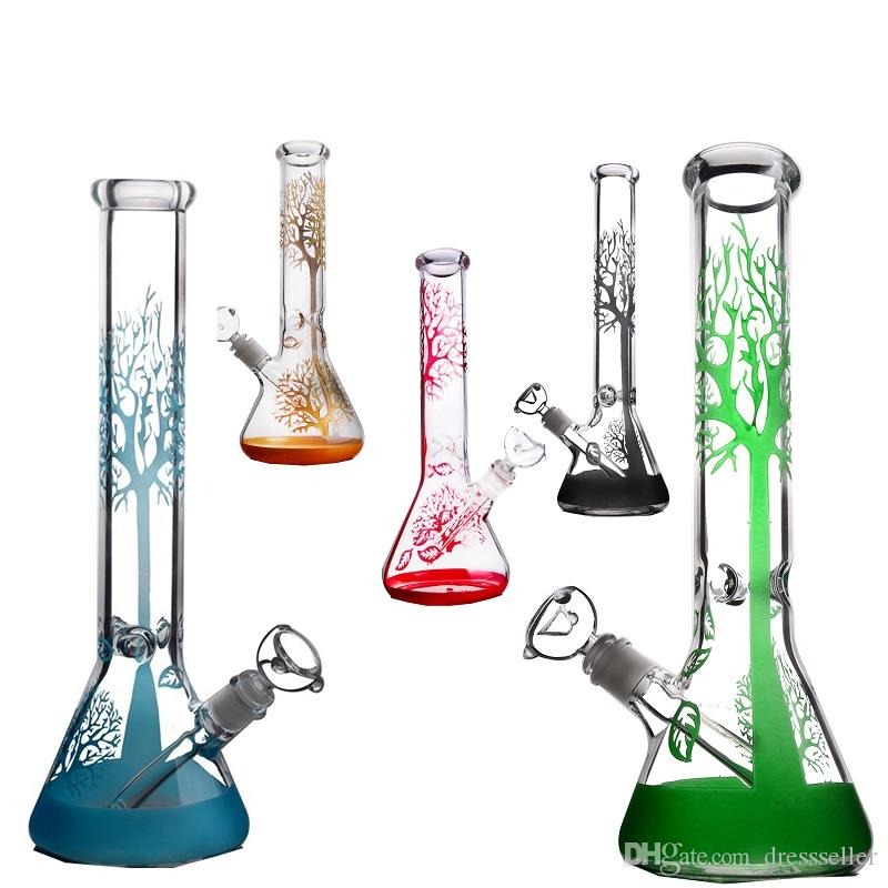 Thick Triangle Big Belly Glass Bong Dab Rig Matrix Perc Recyling Water Pipe Bongs Glass Pipes Oil Rigs Heady Bubbler Tree Branch Adorned