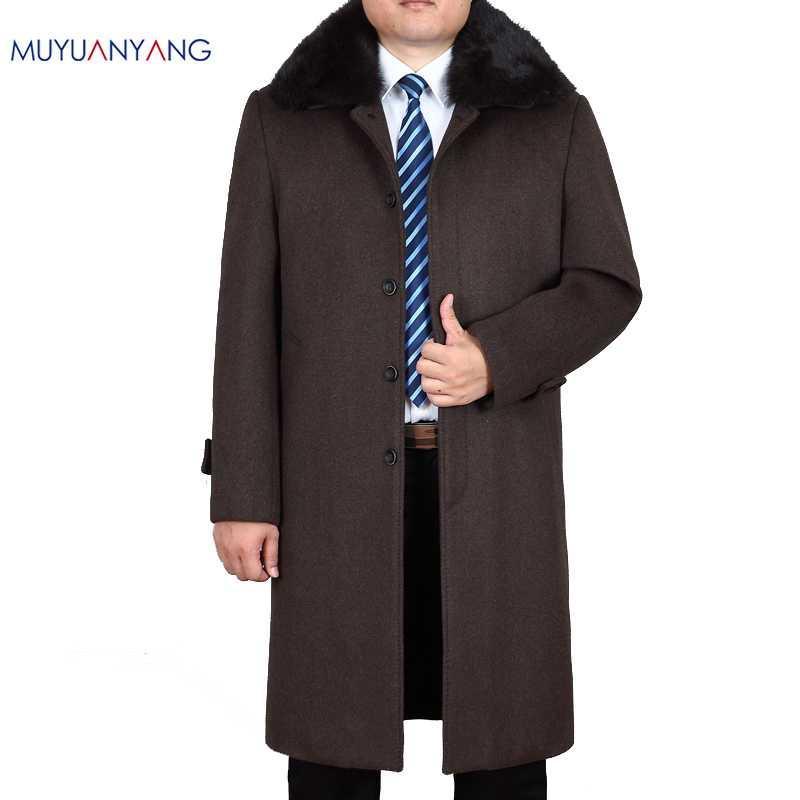 Му Юань Ян мужские шерстяные пальто и куртки зимние X-Long Мужская шерстяная куртка Повседневный Кашемир Одежда Плюс Размер XXXL XXXXL