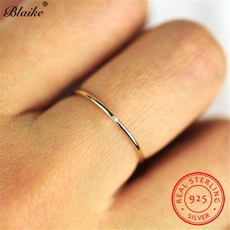 Empilhamento fino fêmea anel com pedra prata esterlina 925 delicados anéis de casamento para as mulheres brancas de cristal Midi Anel Fine Jewelry