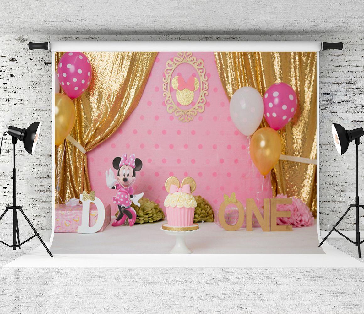 Dream7x5ft 1er Cumpleaños Globos Fotografía Telón de fondo Cortina de lentejuelas Dorado Foto de fondo para niños Fiesta Shoot Pink Decor Studio Prop