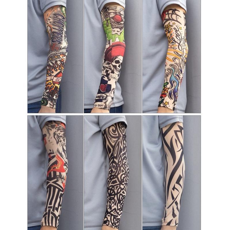 adereços de secagem do braço da tatuagem manga rápida respirável elástico apertado Personalidade manter aquecido Armband para o tênis e do Dia das Bruxas