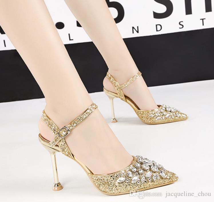 Luxury rhinestone women wedding dress shoes sexy pointed toe 9.5cm 6.5cm stiletto high heels banquet pumps 6288-1