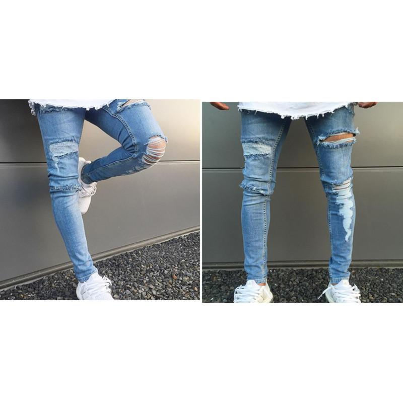 High quality Trousers Hole Men's jeans Tight-fitting riding jeans men's spring new stretch Slim feet size S-3XL