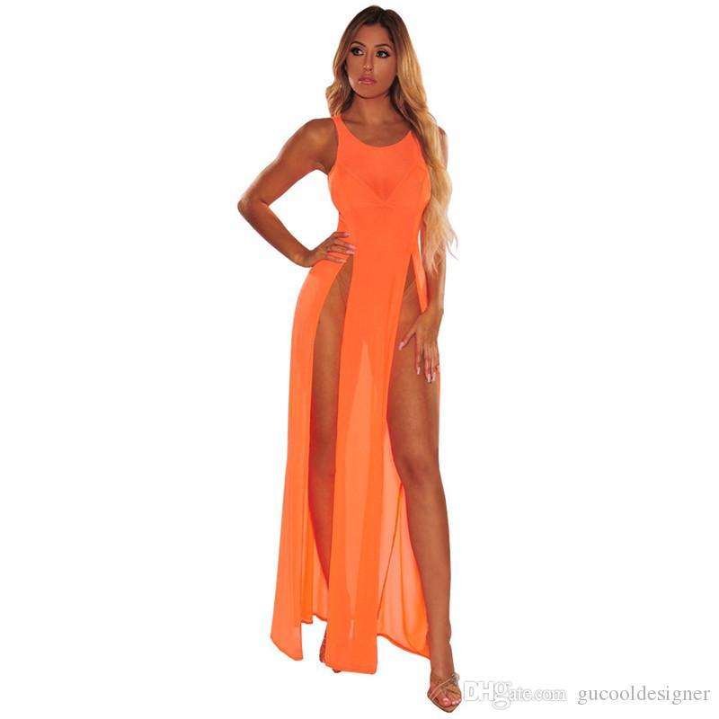Sommer reine Farben-Frauen-Badebekleidung Modedesigner Strand Damen-Vertuschungen Sexy Panelled Weibliches Kleid mit Split