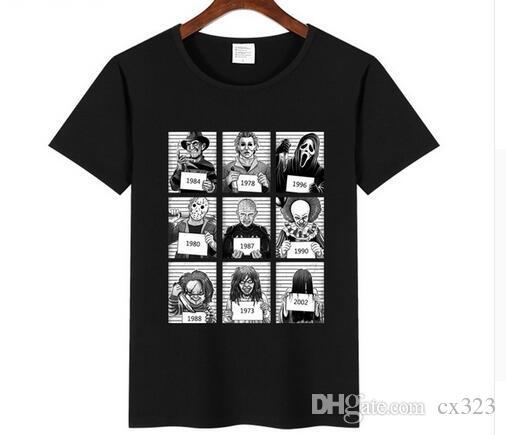 2018 Moda Jason Voorhees Freitag der 13th Maske T Shirt erkek Freddy Korku Kult 100% pamuk Kısa Kollu T gömlek Komik Tees