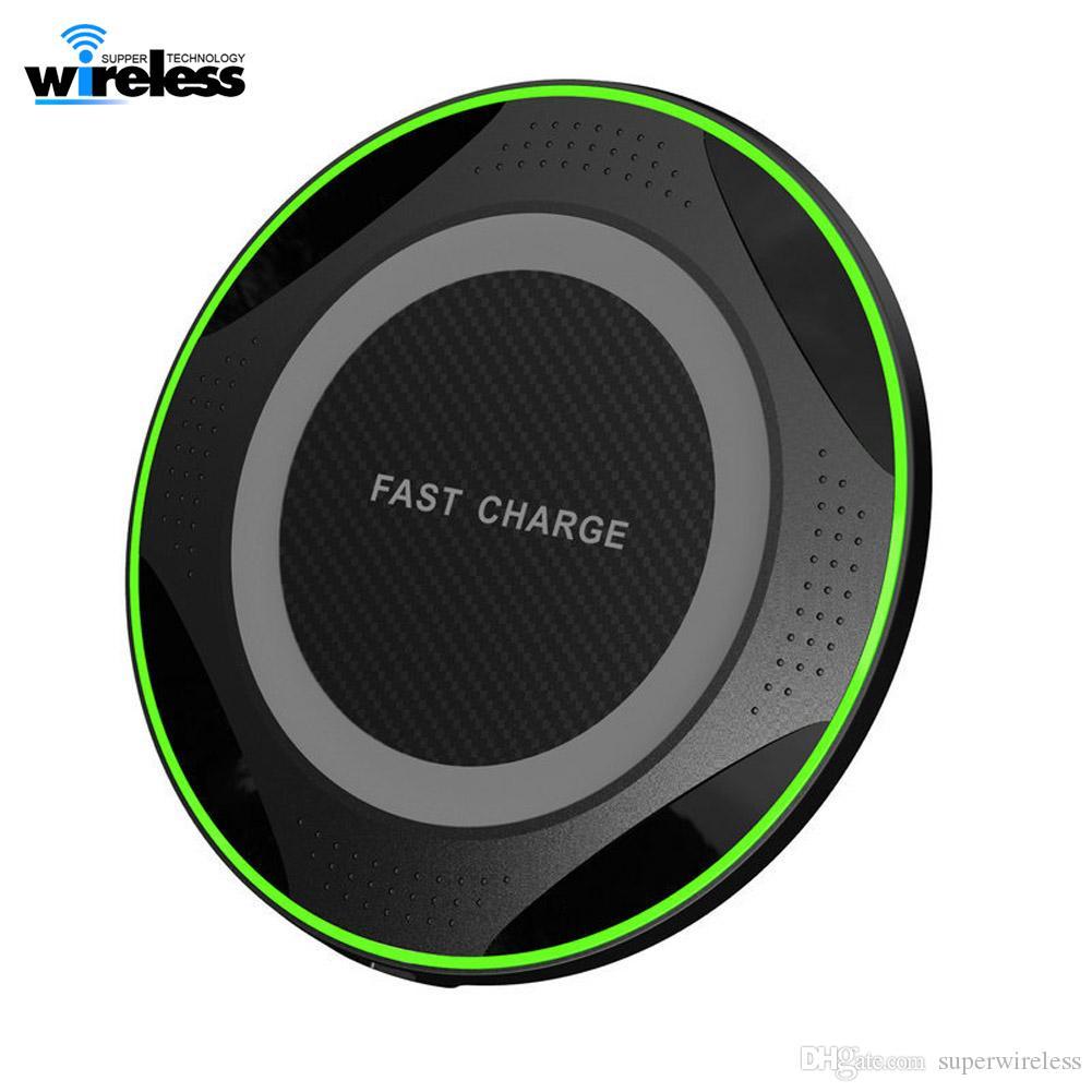 10W ultrasottile rotonda Qi Fast Charger Wireless per 11 Pro pad di ricarica Max X 8 Plus Wireless per Samsung S9 S10 Nota 10 9 caricabatterie