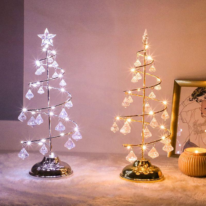 Árvore de cristal LED Natal Tabela LED Desk Lamp Fada Sala Night Lights decorativa Presentes Casa Crianças de Ano Novo 2019