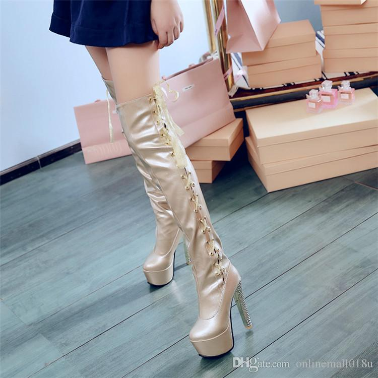 Gorgeous Nightclub Women Thigh High Boots Sexy Platform Super High Heel Over The Knee Boots Shoes Pole Dance Gold Silver