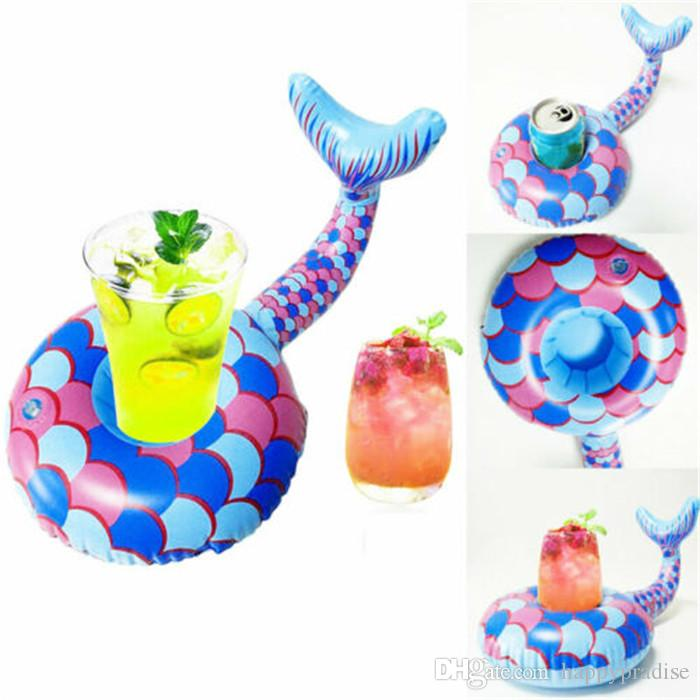 New Arrival Inflatable Mermaid Tail Cup Seat Floating Drink Cup Holder Inflatable Coaster PVC Beach Pool Cup Holder