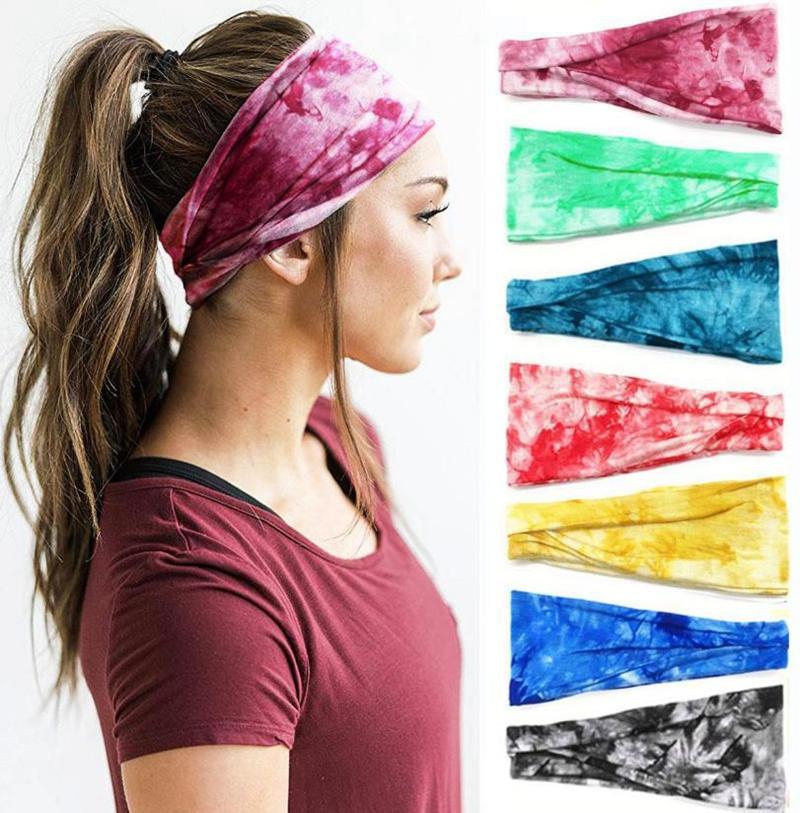 Yoga Kafa Tie Boyama Spor Turban Ter Soğurma Kafa Grupları Spor Kadınlar Headwrap Kızlar Saç Aksesuarları 13 DW5503 Tasarımları