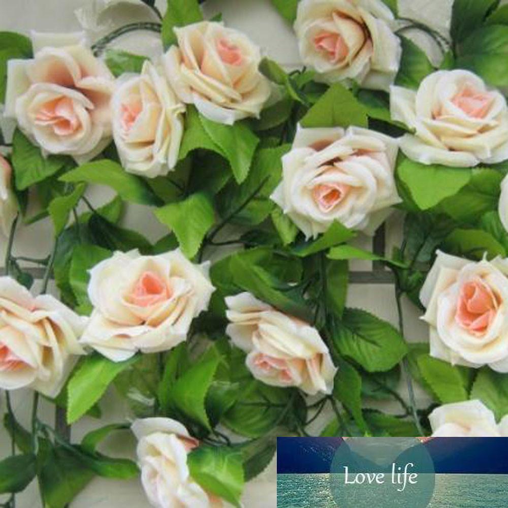 Прекрасный домашних животных Искусственный цветок розы зеленый лист лоза Garland Главная стены партии Свадебный подарок
