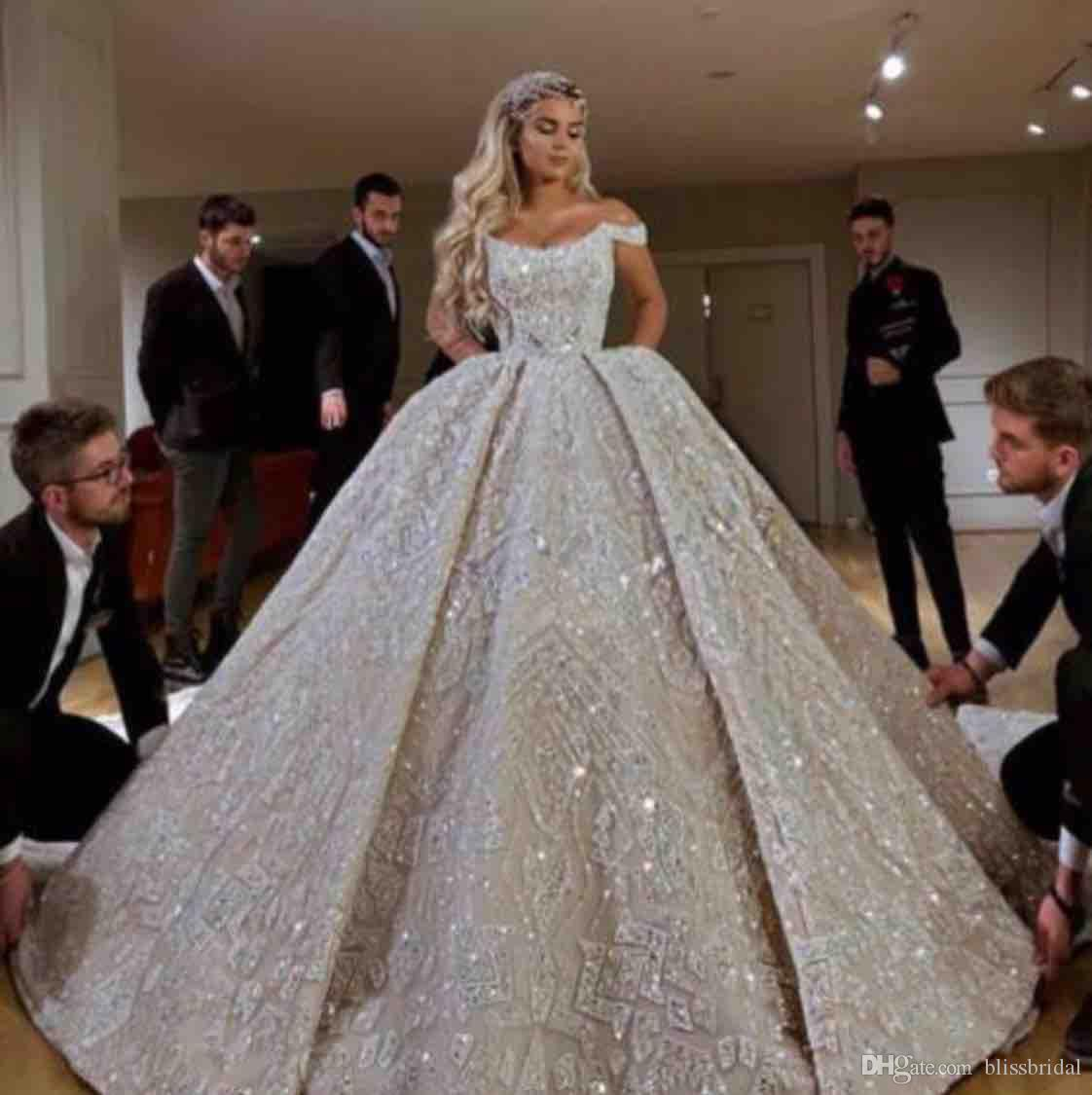 Luxury Ball Gown Wedding Dresses Sequins Applique Off the Shoulder Lace-up Back Floor Length 2019 Bridal Gowns
