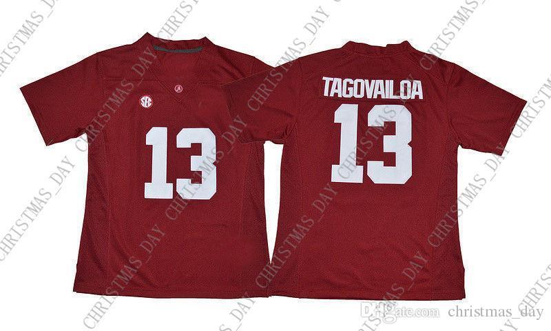 Cheap Tua Tagovailoa Jersey # 13 Football Jersey-costurado vermelho Personalizar qualquer nome número HOMENS MULHERES JOVENS XS-5XL