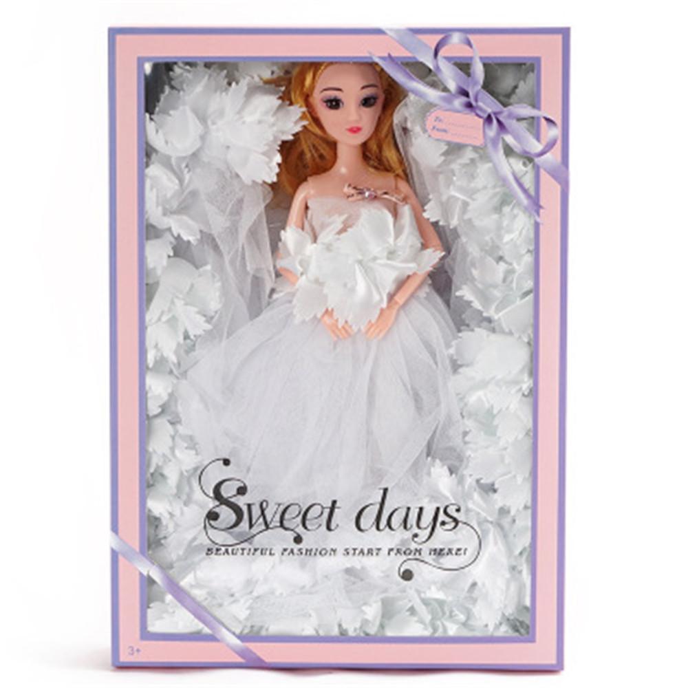 Mode Robe de mariée en dentelle Poupée Kid Jouet de vacances Art Danse cadeau Princesse cadeau Coffret Sourire Barbie Girl Doll Girl Model Couleur Vert
