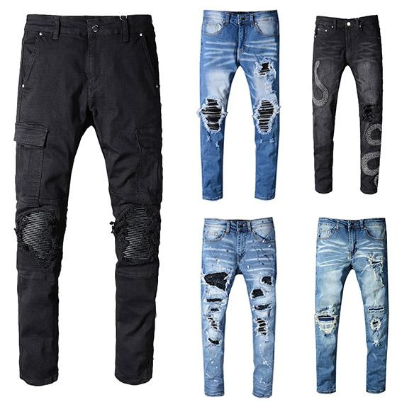 2019 Cool Famous Brand Top Quality Famous Design Jeans Men Ripped Stylish Biker Jeans Rock Style Solid Red Straight Men'S Jeans Hot Sale From