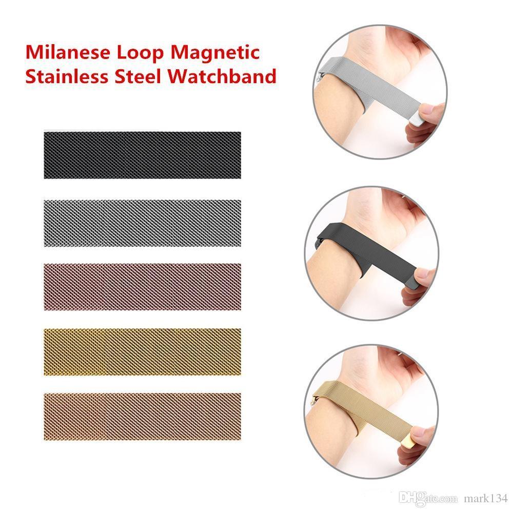 1pcs Yukarı İzle Band Kayışı 38MM 42mm Milanese Döngü Manyetik Paslanmaz Çelik Watchband ile Adaptör Bağlantısı İçin Elma İzle Serisi 1 2 3