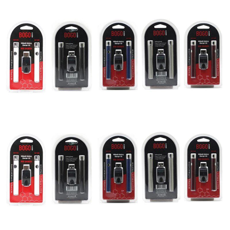 Bogo 예열 배터리 더블 키트 가변 전압 400mAh 펜 조정 가능한 예열 510 스레드 왁스 오일 카트리지 기화기