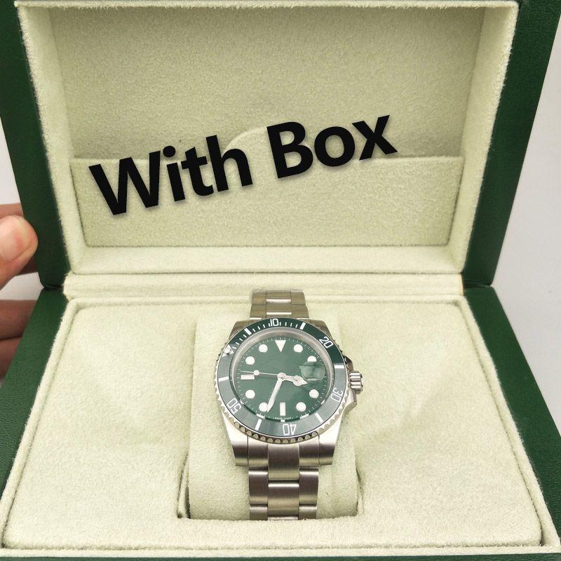 박스 저렴한 남성 시계 44MM 다이얼 달력 방수 손목 시계 스테인레스 스틸 패션 자동 기계 남성 시계