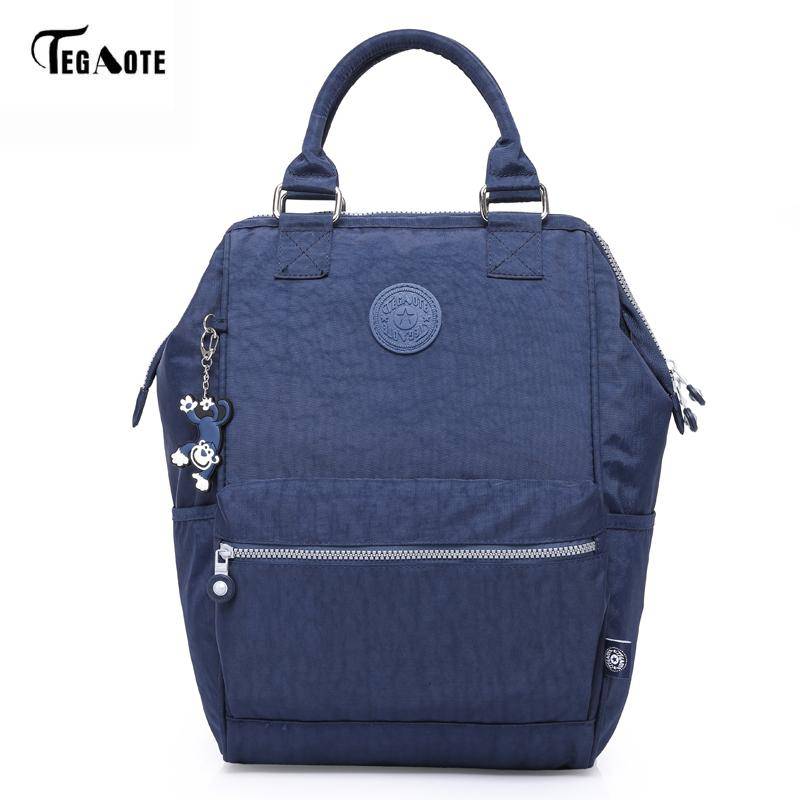 TEGAOTE Nylon Backpack Students School Bag For Teenage Girls Boys Backpacks Street Fashion Rucksack Laptop Bagpack FemaleMX190903