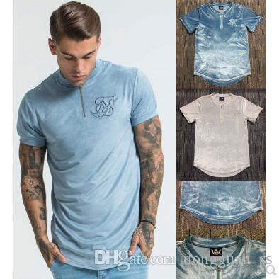 мужчины случайного велюра на молнию футболка Hip Hop пронестись хип-хоп танцор рэппер футболка хлопка высокого качества футболка Мужская одежда