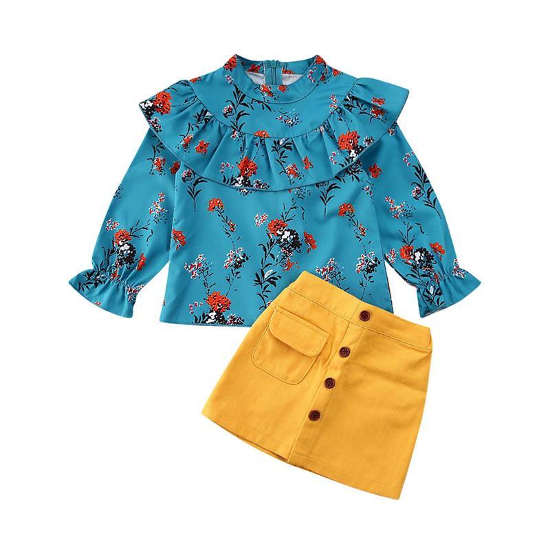 Neugeborenes Kind-Baby-Kleidung Set Rüschen Tops Langarm Floral Vintage Shirt-Knopf-Taschen-Minirock-Kleid Outfits Set Drucken