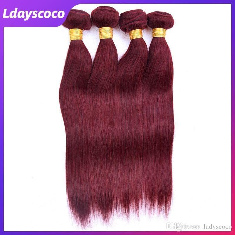 99J # RED Haar-einschlag Weave Haar-Menschenhaar Bundles Remy gerades brasilianisches Jungfrau Bulks mit Closures 10-28 Zoll Toupet Luxus Combo