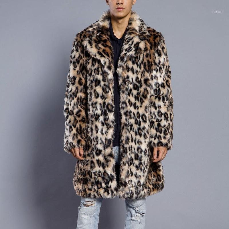 Giacca Uomo 2018 leopardo caldo spessa pelliccia del cappotto del collare della pelliccia del Faux parka Outwear Cardigan Windbreaker Giacca invernale MEN1