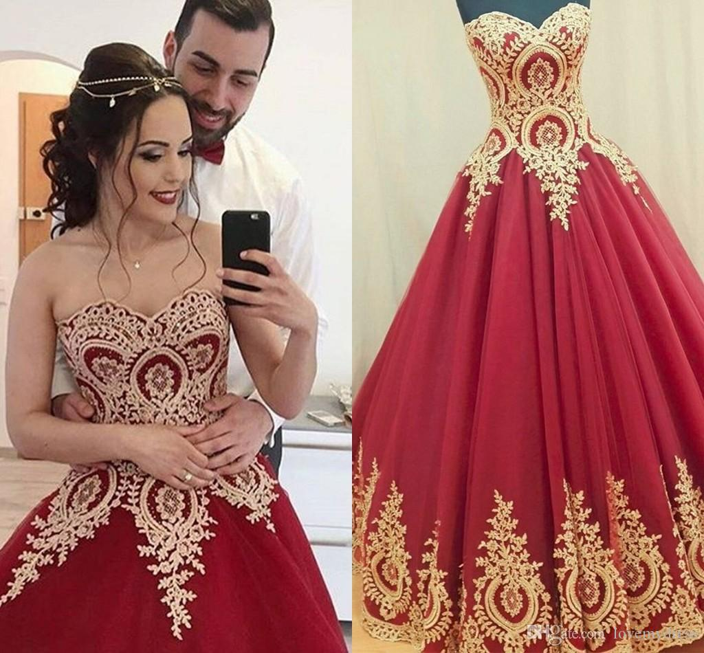 Red African Wedding Dresses Gold Lace Applique Strapless Lace-up Draped Ball Gown Vestidos De Novia Country Wedding Dress Bridal Gowns Plus