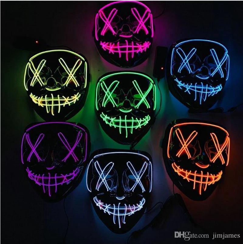 10 цветов провода EL Призрачный маска щелевая Mouth Light Up Светящиеся светодиодные маски Halloween Cosplay Светящиеся LED маски партии Маски 20шт