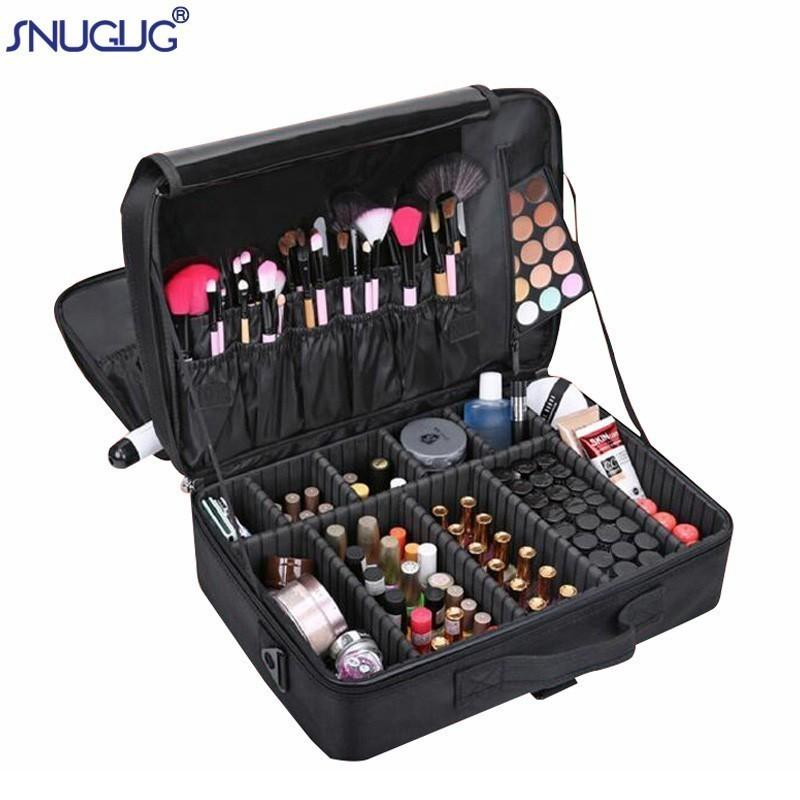 Brand Female High Quality Professional Makeup Organizer Bolso Mujer Cosmetic Bag Large Capacity Storage Case Multilayer Suitcase Y19052501