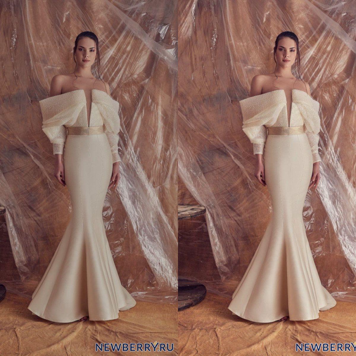 Elegant Long Sleeve Evening Dresses Off The Shoulder Floor Length Zuhair Murad Prom Dress Custom Made Formal Party Vestidos De Novia