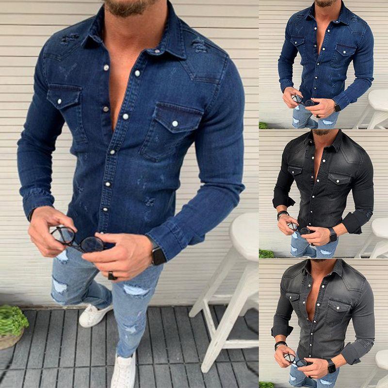 MoneRffi 2019 Мужчины Жан Рубашки Мода Осень Тонкий джинсовые рубашки Top Камиза Masculina с длинным рукавом Jeans рубашка Повседневный Hip Hop Top