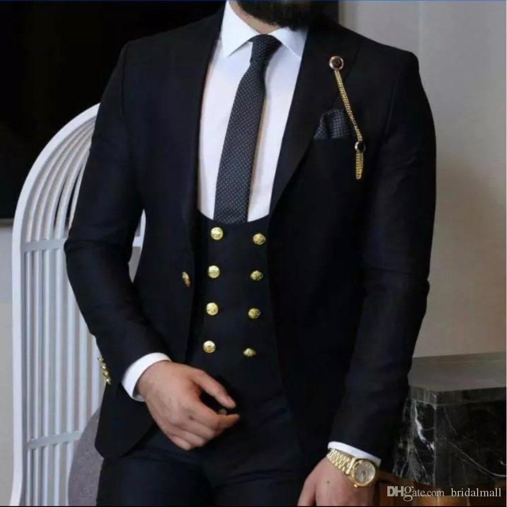 Novità del 2020 Dark Navy picco risvolto Groomsmen One Button Wedding smoking dello sposo degli uomini vestiti di cerimonia nuziale / promenade / Cena Best Man Blazer (Jacket + Vest + Pants)