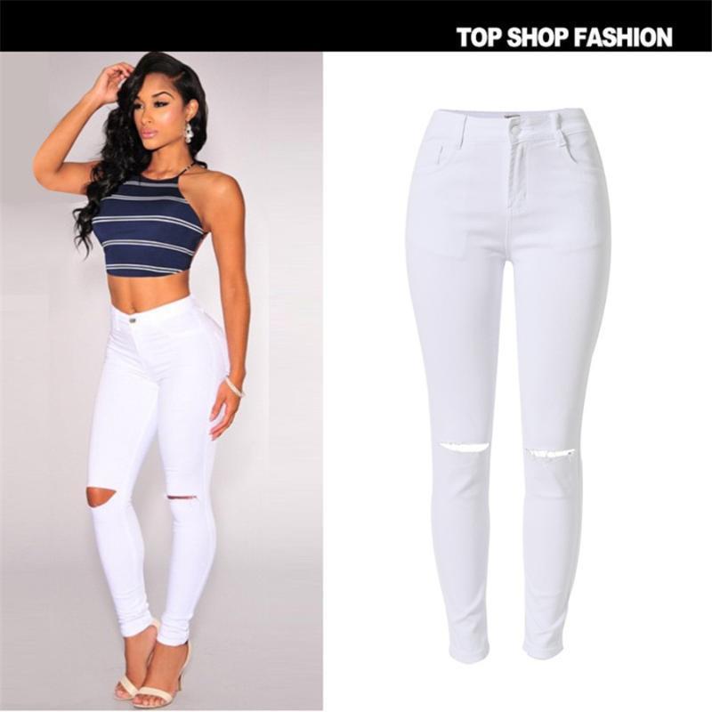 Neue Art und Weise 2020 hohe elastische Baumwolle Damen Weiß High Waist Jeans Zerrissene Loch Knie dünne Bleistift-Hosen nehmen Capris