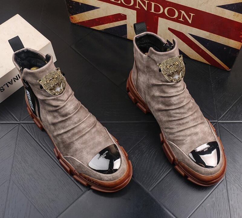 Haute qualité Casual bottes Martin raquettes hommes version coréenne farceur haute haut bottines en cuir occasionnels chaussures pour hommes concepteur bottillons V47