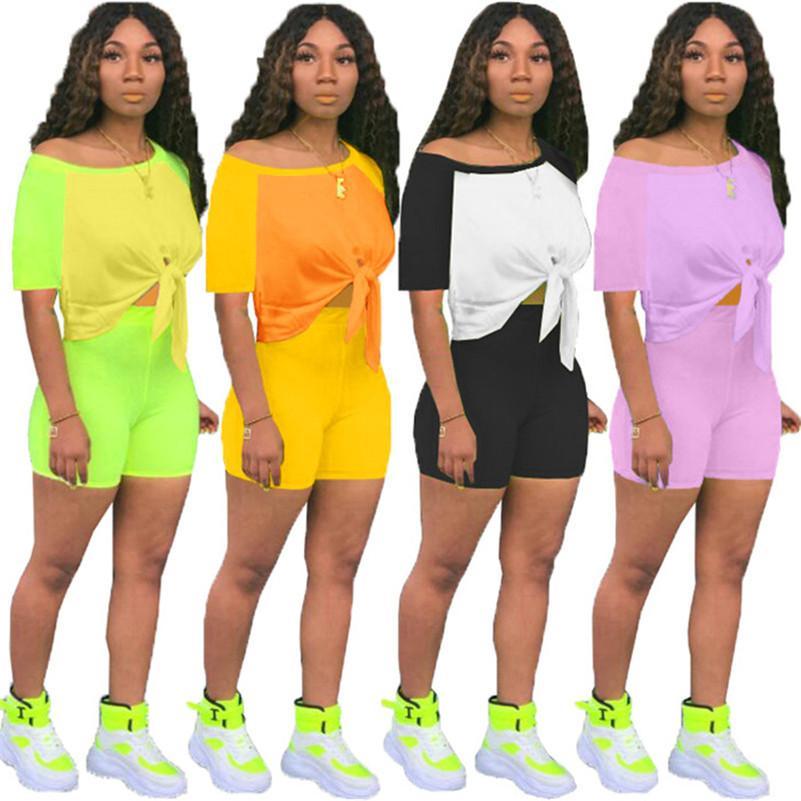 kadınlar tasarımcı eşofman kısa kollu 2 adet kümesinin kıyafetler gömlek pantolon spor sıska gömlek kısa spor elbise sıcak satış klw3741