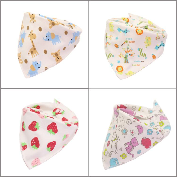 New large baby triangle Bibs scarf snap button cartoon printing Infant knitted cotton double-sided saliva towel Boy Girl Leisure burp Cloths