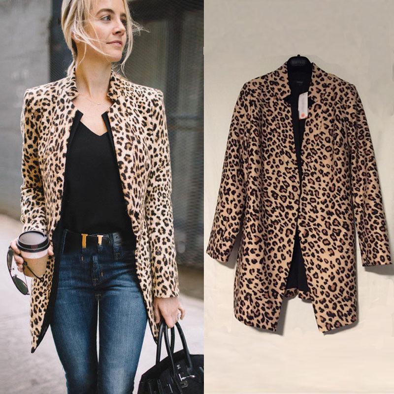 Femmes Leopard sexy hiver chaud Veste New Manteau Wind Gilet imprimé léopard Manteau chaqueta mujer T190919